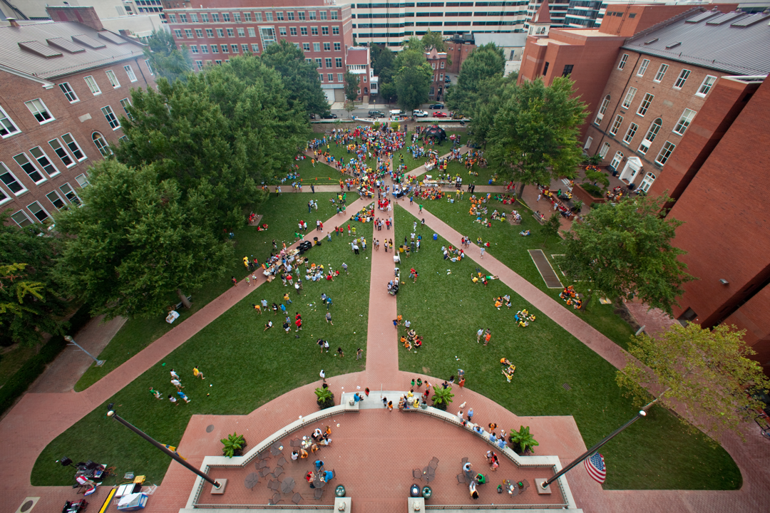 Aerial view of University Yard with students gathering
