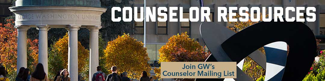 Counselor Resources header over Kogan Plaza photo: Click to join our counselor mailing list