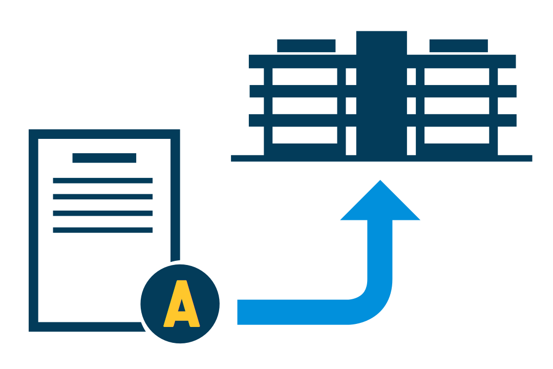 Icon of document with A connected to building