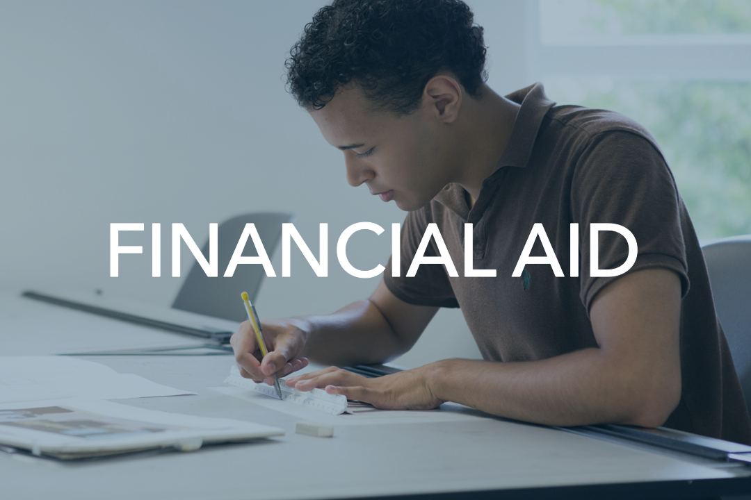 Financial aid button with photo of student studying