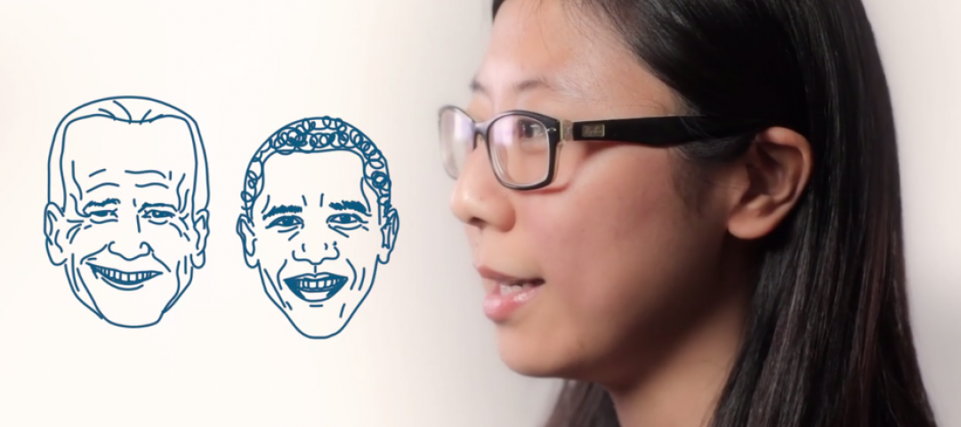 Fan Zhang with graphics of President Obama and Vice President Biden