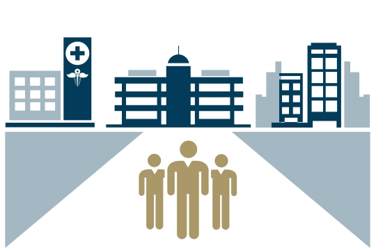 graphic presentation of people in front of a hospital and buildings