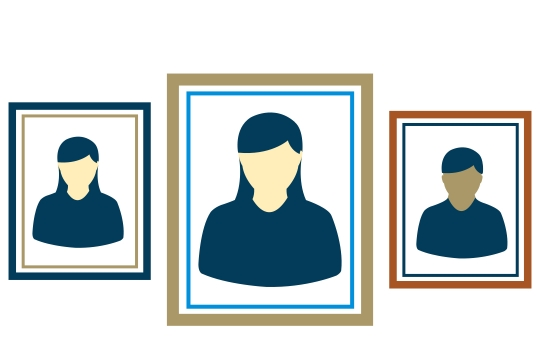 Graphic presentation of three silhouettes in frames