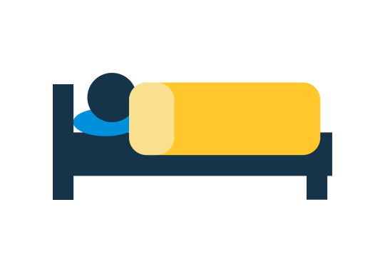 Icon with person in a bed to illustrate hotel options