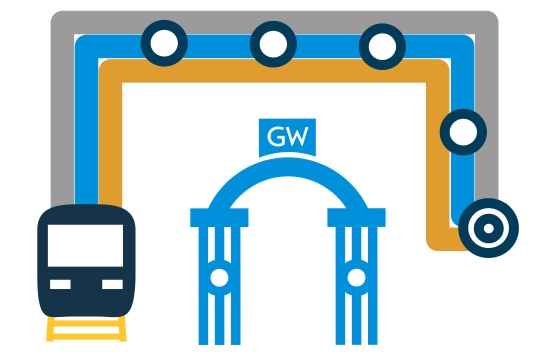 Icon that illustrates the Foggy Bottom metro stop on the orange, silver, and blue lines