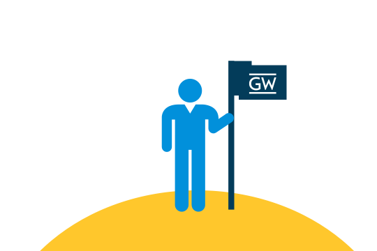 Graphic depiction of a student holding a GW flag