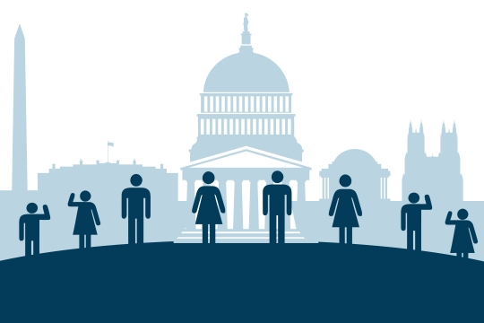 Icons that illustrate student interns in front of the Capitol, National Mall and Washington Monument
