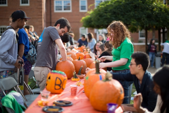 Students carving pumpkins on the Mount Vernon campus