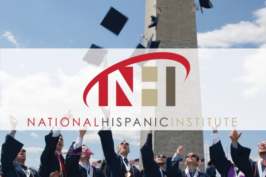National Hispanic institute; group of GW graduates tossing graduation caps up in the sky with Washington Monument in background