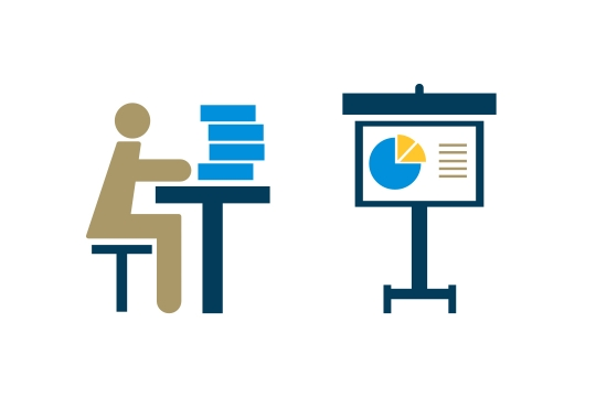 Icon that illustrates a student at a desk looking at a pie chart