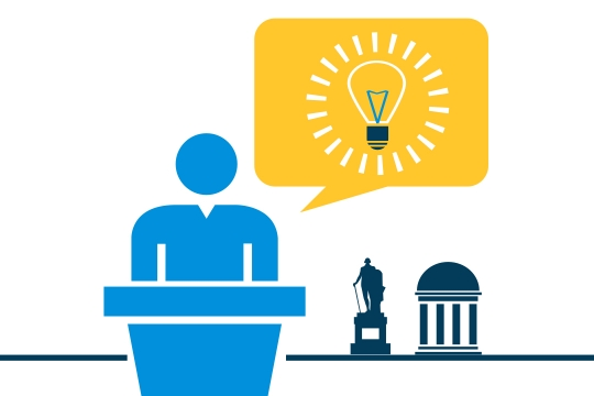 Graphic presentation of a person with lightbulb idea and with campus landmarks in background